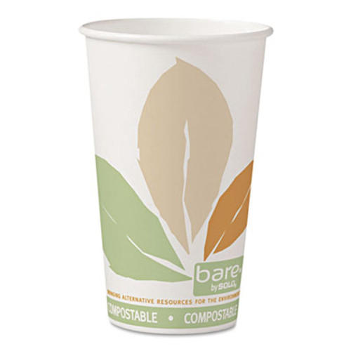 Dart Bare by Solo Eco-Forward PLA Paper Hot Cups, Leaf Design, 16 oz, 1000/Carton (SCC 316PLA-BB)