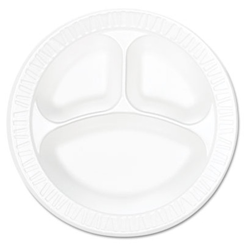 """Dart Concorde Foam Plate, Compartmented, 10 1/4"""" dia, WE, 125/Pack, 4 Packs/Carton (DCC 10CPWCR)"""