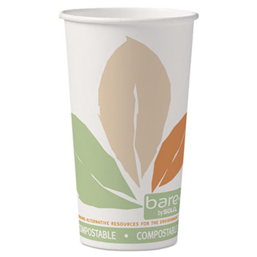 Dart Bare by Solo Eco-Forward PLA Paper Hot Cups, 20oz,Leaf Design,40/Bag,15 Bags/Ct (SCC 420PLA-BB)