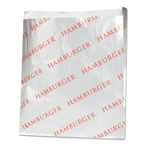 Bagcraft Foil Hamburger Bags, 6 x 3/4 x 6 1/2, Silver, 1000 per Carton (BGC 300527)