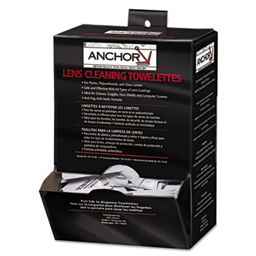 "Anchor Brand Lens Cleaning Towelettes, 5 in x 8"", White, 100/Box (ANR70AB)"