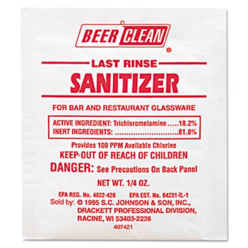 Diversey Beer Clean Last Rinse Glass Sanitizer, Powder, .25oz Packet, 100/Carton (DVO 90223)