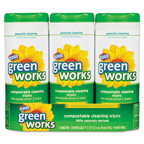 Green Works Compostable Cleaning Wipes, 7 x 7 1/2, Original Scent, 30/Canister, 3/Carton (CLO 30655)