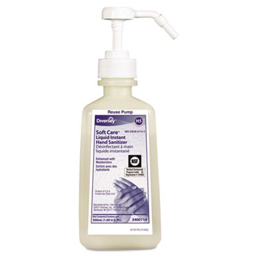 Diversey Soft Care Instant Hand Sanitizer, 500mL Pump Bottle, Clear, Unscented, 12/Carton (DVO 3400114)