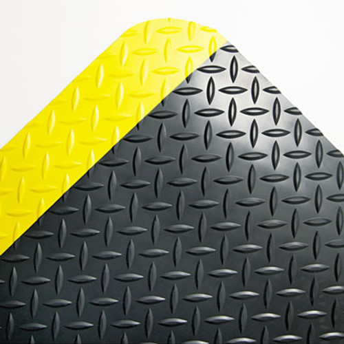 Crown Industrial Deck Plate Anti-Fatigue Mat, Vinyl, 24 x 36, Black/Yellow Border (CRO CD0023YB)