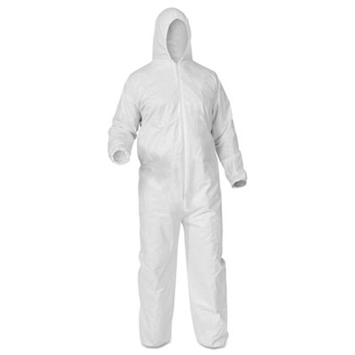 KleenGuard* A35 Coveralls, Hooded, Large, White, 25/Carton (KCC 38938)