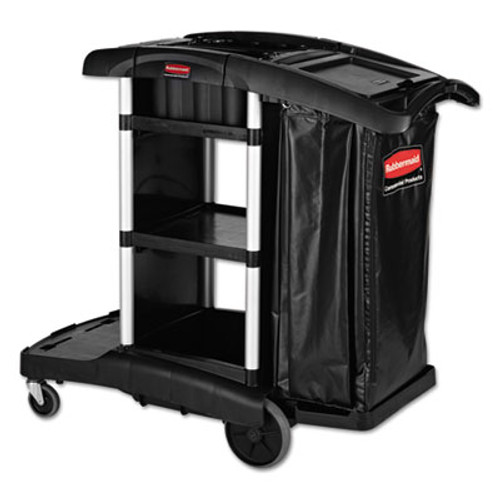 Rubbermaid Executive High Capacity Janitorial Cleaning Cart, 22.5w x 38.5d x 20.5h, Black (RCP 1861429)