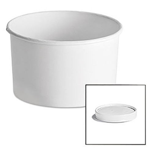 Chinet Paper Food Container with Vented Lid Combo 12, oz, Polycoated, White, 250/Ctn (HUH 71843)