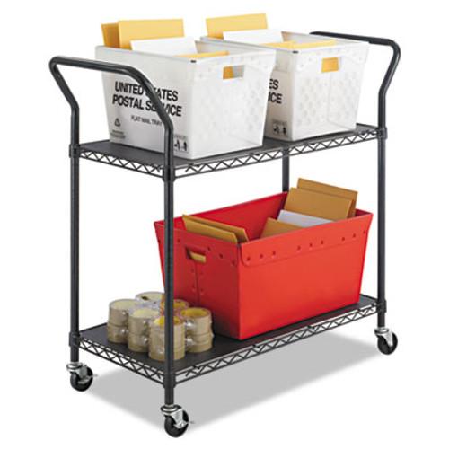 Safco Wire Utility Cart, Two-Shelf, 43-3/4w x 19-1/4d x 40-1/2h, Black (SFC 5337BL)