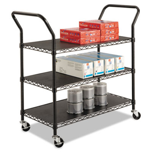 Safco Wire Utility Cart, Three-Shelf, 43-3/4w x 19-1/4d x 40-1/2h, Black (SFC 5338BL)