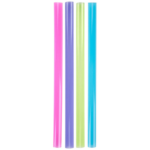 """Dart Unwrapped Colossal Neon Straws, 8.5"""", Purple/Green/Red/Blue, 500/Box, 8BX/CT (SCC D85AN)"""