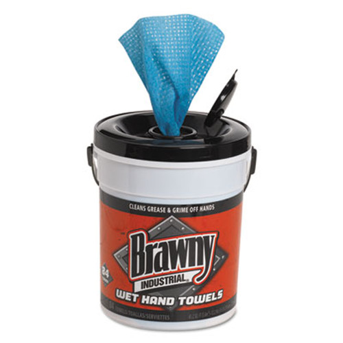 """Brawny Industrial Wet Hand Towels, 12 1/5"""" x 8 3/5"""", 1-Ply, Blue, 84/Pail, 6/Carton (GPC 215-01)"""