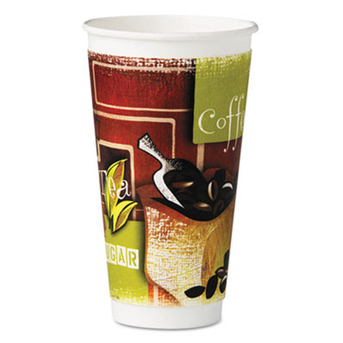Chinet Insulated Hot Cups, Paper, 20 oz, Green/Brown/White, 28/Bag, 15 Bags/Carton (HUH 63352)