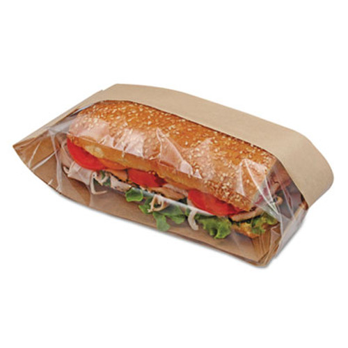 Bagcraft Dubl View Sandwich Bags, 2.55 mil, 11 3/4 x 4 1/4 x 2 3/4, Natural Brown, 500/CT (BGC 300090)