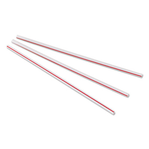 "Dixie Unwrapped Hollow Stir-Straws, 5 1/2"", Plastic, White/Red, 1000/Box, 10 Boxes/Ct (DIX HS551)"