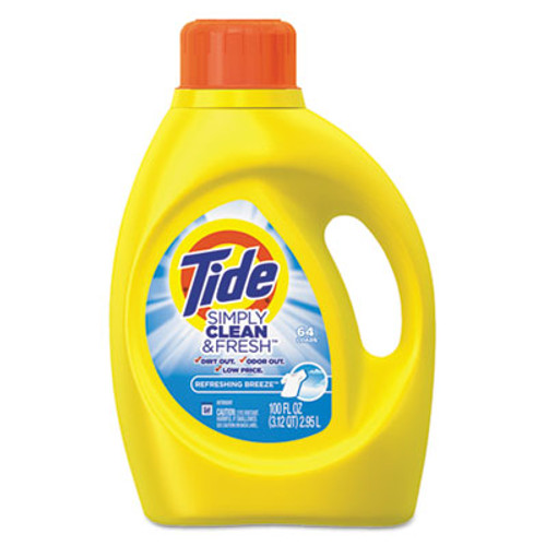 Tide Simply Clean & Fresh Laundry Detergent, Refreshing Breeze, 100oz Bottle, 4/Crtn (PGC 89129)