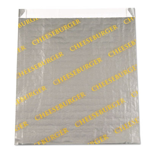 "Bagcraft Foil/Paper/Honeycomb Insulated Bag ""Cheeseburger"", 6x6 1/2, Gray/Yellow, 1000/CT (BGC 300524)"