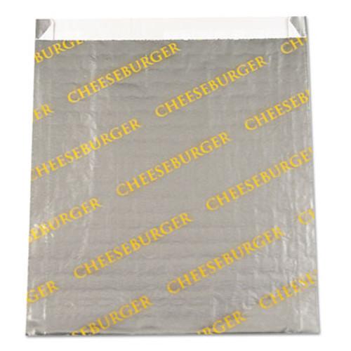 "Bagcraft Foil/Paper Bag ""Cheeseburger"", 6"" x 6 1/2"", Silver, 1000/Carton (BGC 300529)"