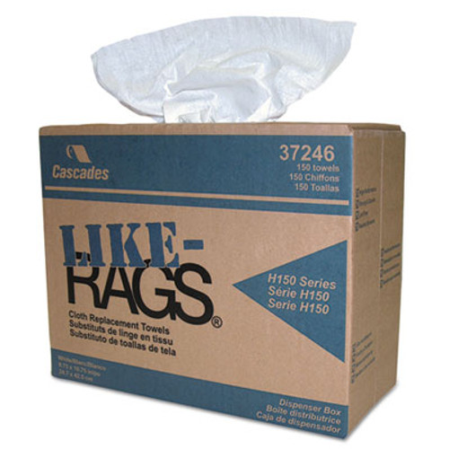 Cascades PRO Like-Rags Spunlace Towels, White, 9 3/4 x 16 3/4, 150/Box, 6 Box/Carton (CSD 37246)
