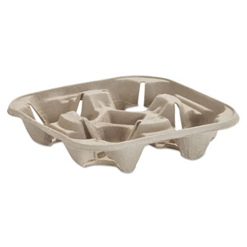Chinet StrongHolder Molded Fiber Cup Tray, 8-22oz, Four Cups, 75/Pack, 4 Packs/Carton (HUH FIGURE)