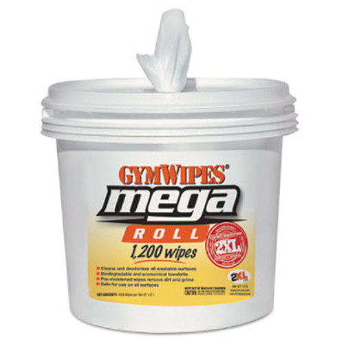 2XL Gym Wipes Mega Roll, 8 x 8, White, 1200 Wipes/Bucket, 2 Buckets/Carton (TXL L419)