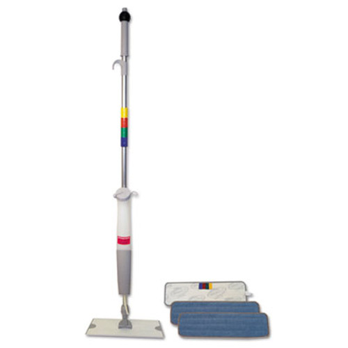 "Boardwalk Bucketless Microfiber Mop System, 5 x 18 Head, 59"" Handle, Blue/Gray (BWK BWMS-16-MFM)"
