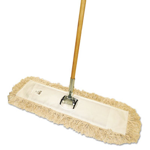 "Boardwalk Cut-End Dust Mop Kit, 36 x 5, 60"" Wood Handle, Natural (BWK M365-C)"