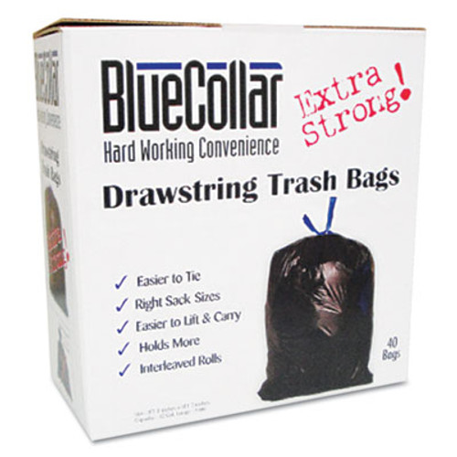 BlueCollar Drawstring Trash Bags, 20-30gal, 1mil, 30 x 34, Black, 40/Box (HERN6034YKRC1)