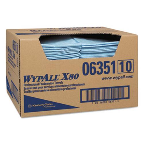 WypAll* X80 Foodservice Paper Towel, Spunlace, 13 1/2 x 24, Blue, 150/Carton (KCC 06351)