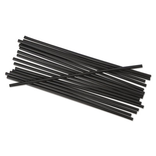 "Boardwalk Unwrapped Single-Tube Stir-Straws, 5 1/4"", Black, 1000/Pack, 10/Carton (BWK STRU525B10)"