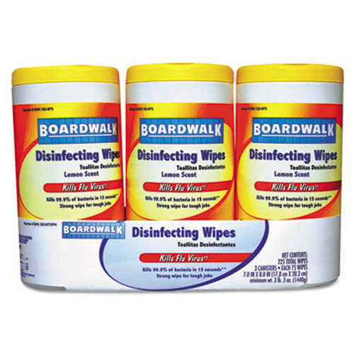 Boardwalk Disinfecting Wipes, 8 x 7, Lemon Scent, 75/Canister, 3 Canisters/Pack (BWK355W753PK)