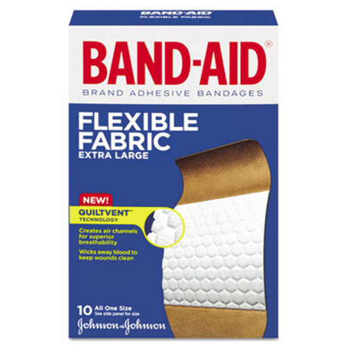"BAND-AID Flexible Fabric Extra Large Adhesive Bandages, 1 1/4"" x 4"", 10/Box (JON 5685)"