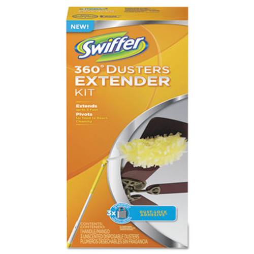 Swiffer 360 Dusters, Plastic Handle Extends to 3 ft, 1 Handle & 3 Dusters/Kit/6/Carton (PGC 82074CT)