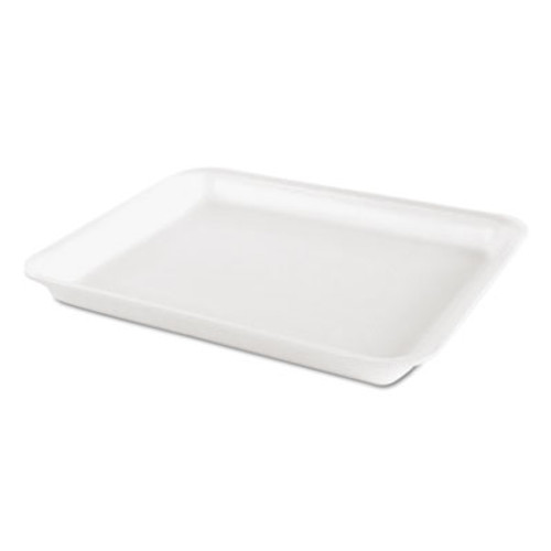 Genpak Heavy Supermarket Tray, White, 10 1/2 x 8 1/4 x 7/10, 100/Bag, 4 Bags/CT (GNP TR08PWH)
