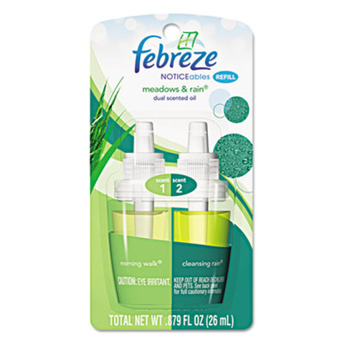 Febreze PLUG Air Freshener Refills, Meadows & Rain, 0.87 oz Refill, 8/Carton (PGC 45541)