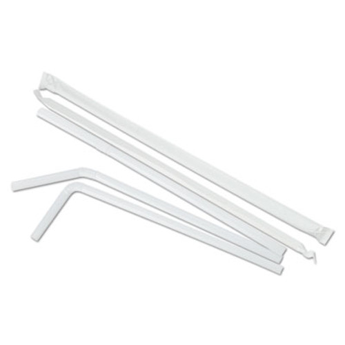 "Boardwalk Flexible Wrapped Straws, 7 3/4"", White, 400/Pack, 25 Pack/Carton (BWK FSTW775W25)"