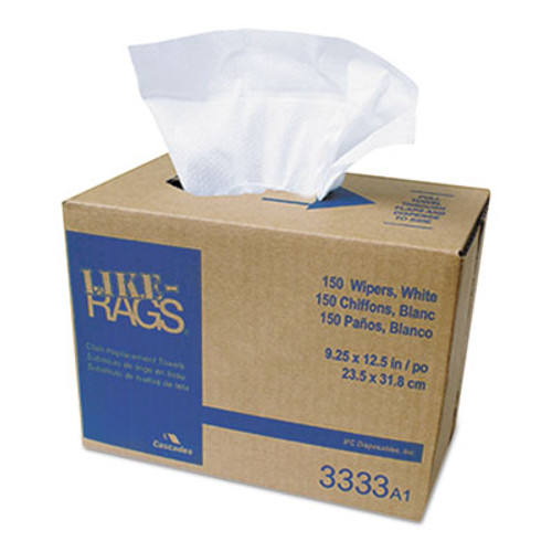 Cascades PRO Like-Rags Spunlace Towels, White, 9 1/4 x 12 1/2, 150/Box, 9 Box/Carton (CSD 3333)
