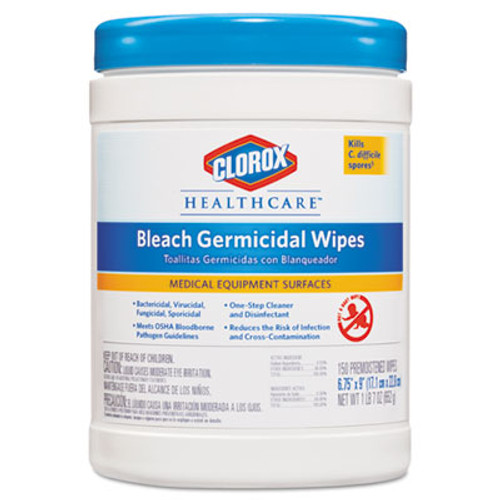Clorox Healthcare Bleach Germicidal Wipes, 6 3/4 x 9, Unscented, 150/Canister (CLO30577)
