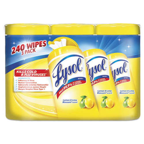 LYSOL Disinfecting Wipes, 7x8, Lemon and Lime Blossom, 80/Canister, 3/Pack, 2 Packs/CT (RAC84251)