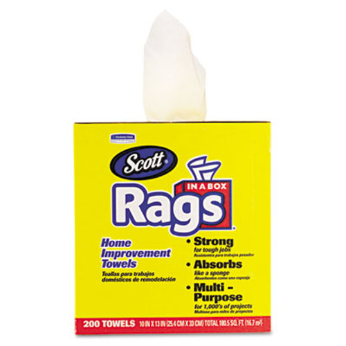 Scott Rags in a Box, 10 x 12, White, 200/Box (KCC75260)