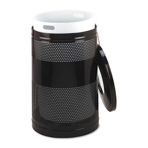 Rubbermaid Classics Perforated Open Top Receptacle, Round, Steel, 51gal, Black (RCP S55ETBK)