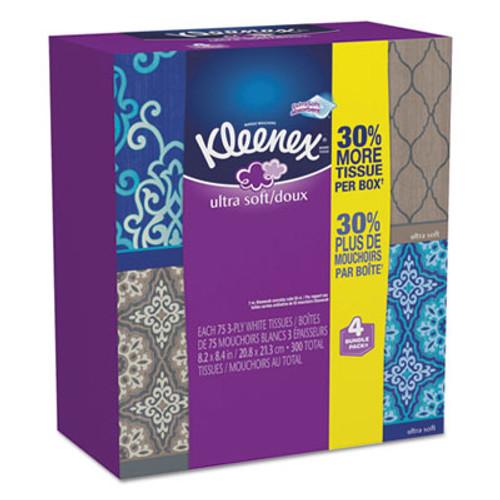 Kleenex Ultra Soft Facial Tissue, 3-Ply, White, 8.75 x 4.5, 75/Box, 4 Box/Pack (KCC 25830CT)