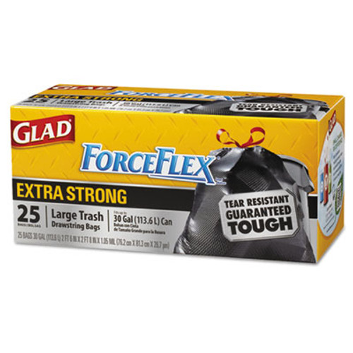 Glad ForceFlexPlus Drawstring Large Trash Bags, 30 gal, Black, 25/BX, 6/CT (CLO 70359)