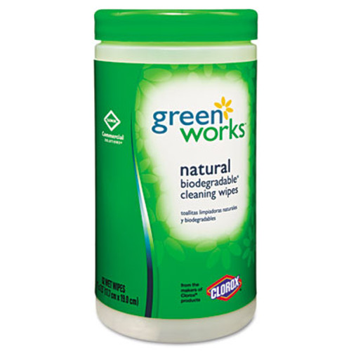 Green Works Compostable Cleaning Wipes, 7 x 7 1/2, Original Scent, 62/Canister (CLO30380)