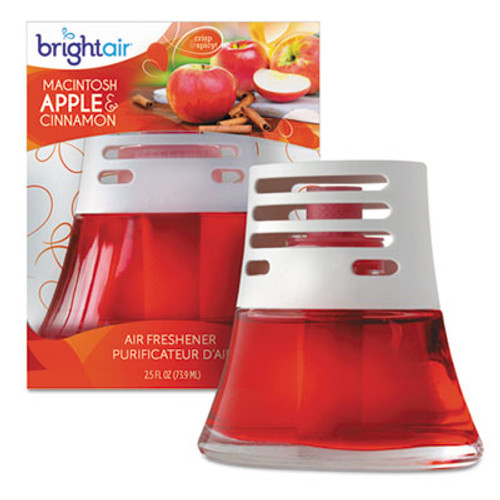 BRIGHT Air Scented Oil Air Freshener, Macintosh Apple and Cinnamon, Red, 2.5oz, 6/Carton (BRI 900022CT)