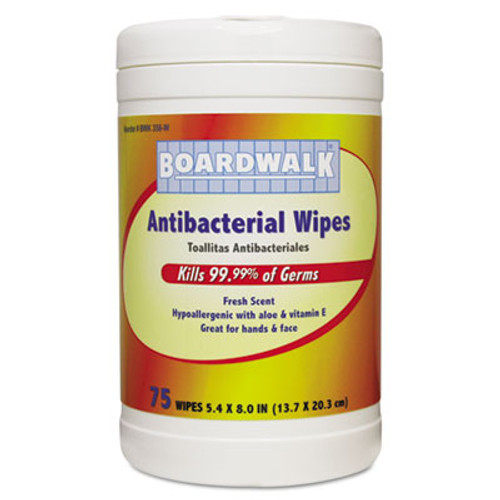 Boardwalk Antibacterial Wipes, 8 x 5 2/5, Fresh Scent, 75/Canister, 6 Canisters/Carton (BWK358W)