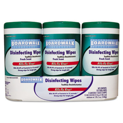 Boardwalk Disinfecting Wipes, 8 x 7, Fresh Scent, 75/Canister, 3 Canisters/Pack (BWK354W753PK)