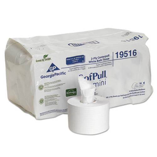 Georgia Pacific Professional SofPull Mini Centerpull Bath Tissue, 5 1/4 x 8 2/5, 500 Sheets, 16 Rolls/Carton (GPC 195-16)