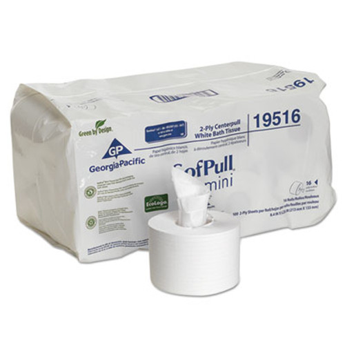 Georgia Pacific SofPull Mini Centerpull Bath Tissue, 5 1/4 x 8 2/5, 500 Sheets, 16 Rolls/Carton (GPC 195-16)