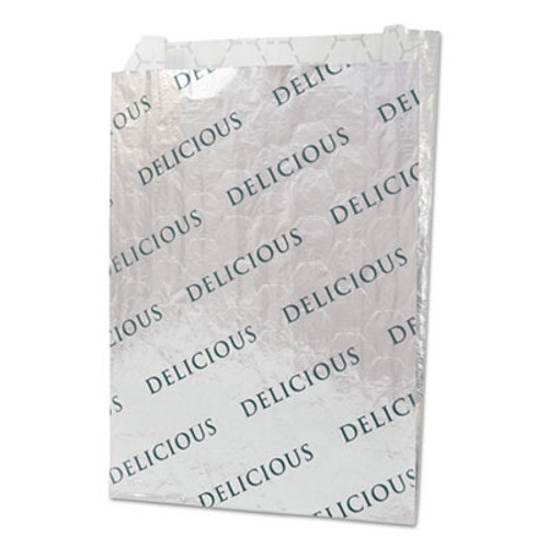 "Bagcraft Foil/Paper/Honeycomb Insulated Bag ""Delicious"", 8"" x 6"", White, 1000/Carton (BGC 300519)"